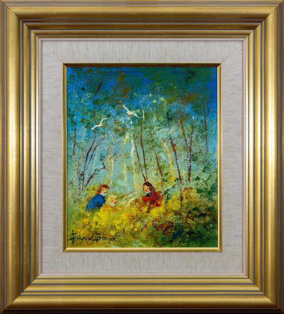 David BOYD (b.1924; d.2011) - CHILDREN PICKING FLOWERS