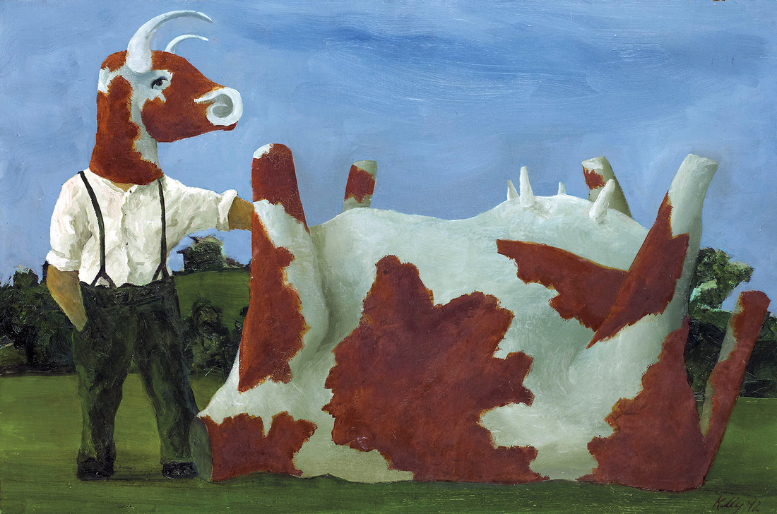 John KELLY (b.1965) - COW MAN & UPSIDE DOWN COW