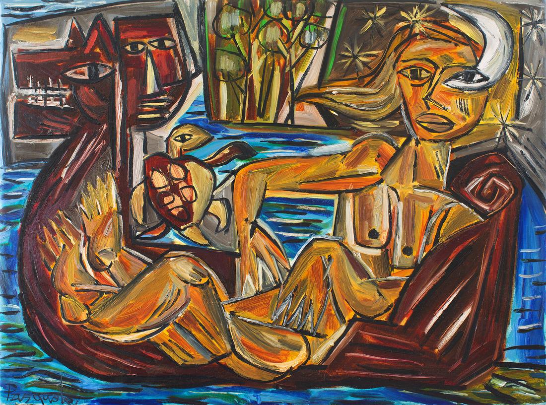 Pasquale GIARDINO (b.1961) - DOG, FACE, MOON, WOMAN & BOAT
