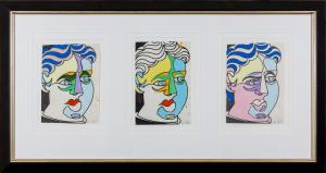 Howard ARKLEY (b.1951; d.1999) - STUDY FOR PICASSO HEAD (3 x purple green & beige)