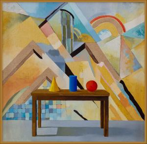 Alan OLDFIELD (b.1943; d.2004) - THREE OBJECTS AND A CUBIST LANDSCAPE